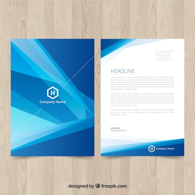 Blue corporate brochure with abstract shapes Free Vector