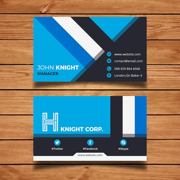 blue corporate business card vector free download