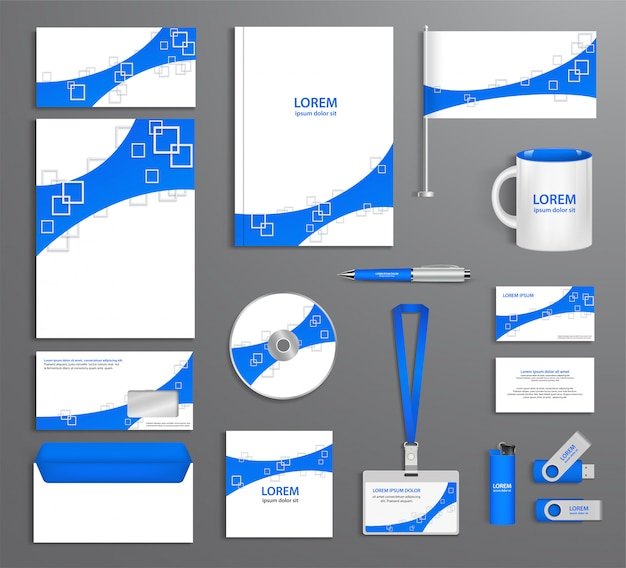 Blue corporate id template, company style, abstract of design elements. business documentation. Premium Vector