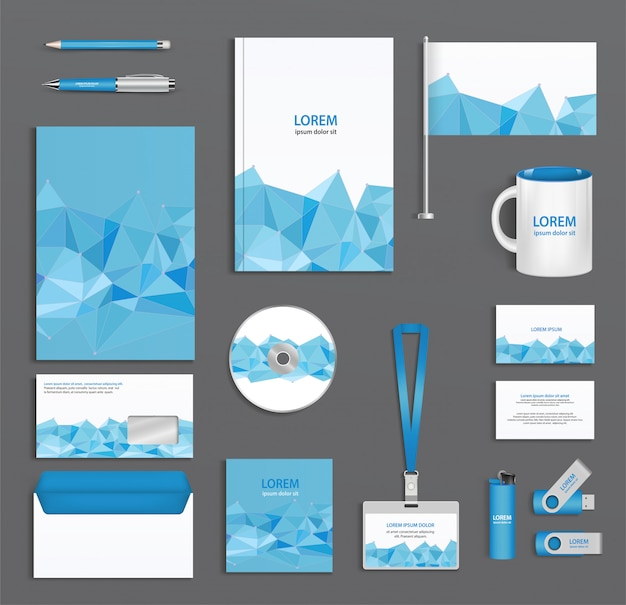 Blue corporate id template  with triangular faces, company style, abstract of design elements. Premium Vector