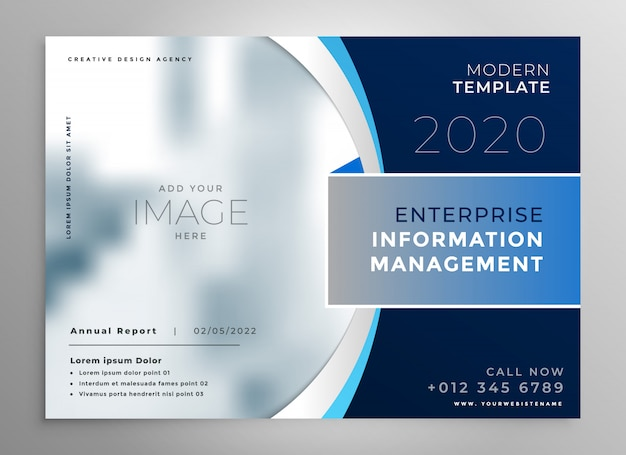 Blue corporate presentation template or brochure Free Vector
