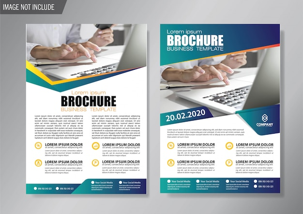 Blue cover flyer and brochure business template Premium Vector