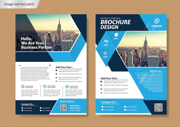 Blue cover flyer and brochure template for annual report Premium Vector