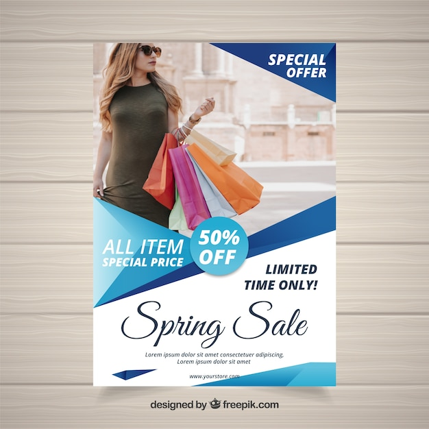Blue cover template for spring sales Free Vector