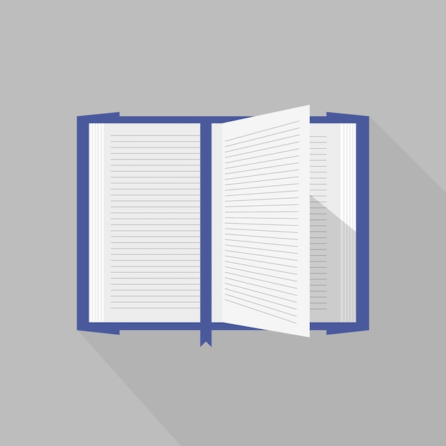 Blue covered opened book with vector pages fluttering. Premium Vector