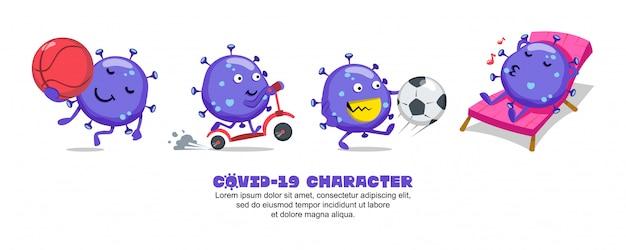 ブルーコビッド-19。コロナウイルスの漫画のインスピレーションのデザイン。バスケットボール、スクーター、サッカー、リラックス Premiumベクター