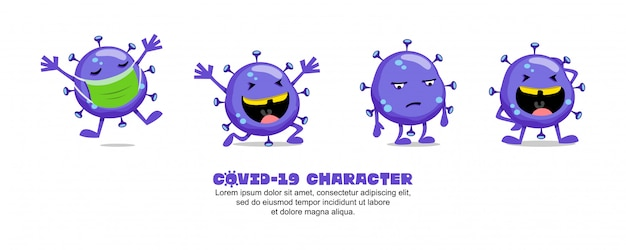 ブルーコビッド-19。コロナウイルスの漫画のインスピレーションのデザイン。マスク、幸せ、悲しい、そして笑い Premiumベクター