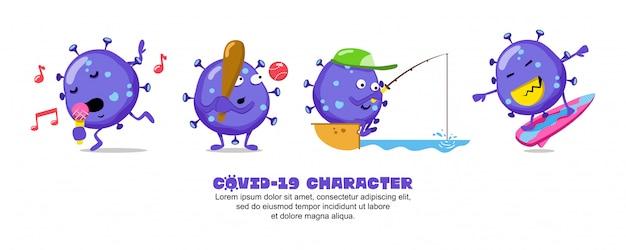 ブルーコビッド-19。コロナウイルスの漫画のインスピレーションのデザイン。歌う、野球、釣り、サーフィン Premiumベクター