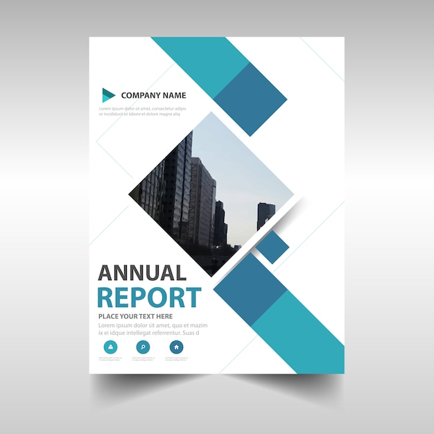 Blue creative annual report book cover template vector for Cover pages designs templates free