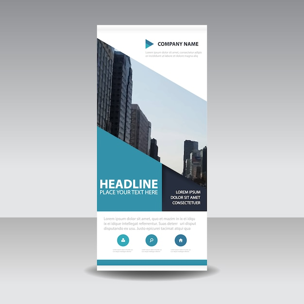 Blue creative roll up banner template Vector | Free Download