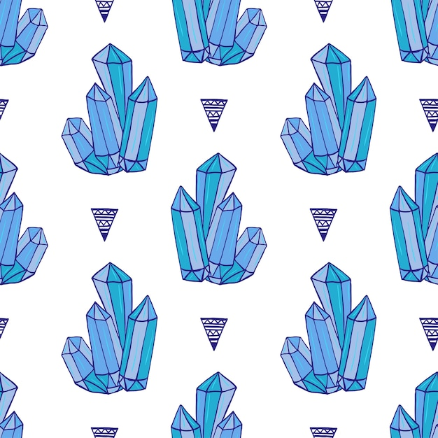 Blue crystals seamless pattern. minerals rocks hand drawn. vector fashion Premium Vector