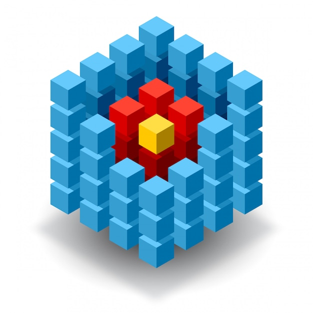Blue cube logo with red segments Premium Vector