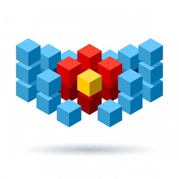 Blue cubes logo with red segments Premium Vector
