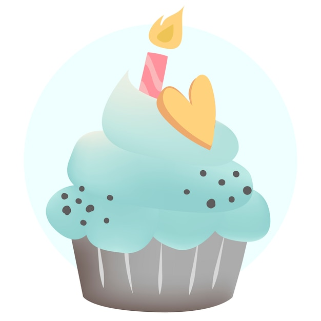 Blue cupcake vector with a candle Free Vector