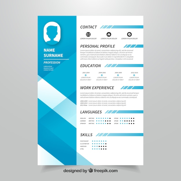 blue curriculum template with modern style vector