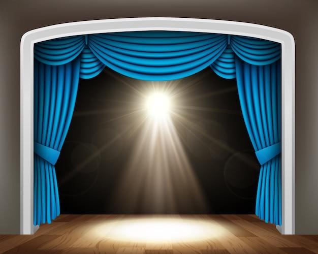 Blue curtain of classical theater Premium Vector