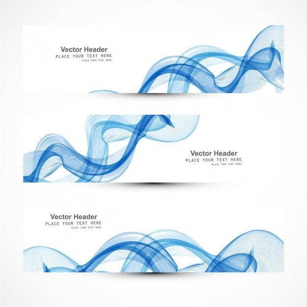 Blue curvy abstract banners collectoin Free Vector
