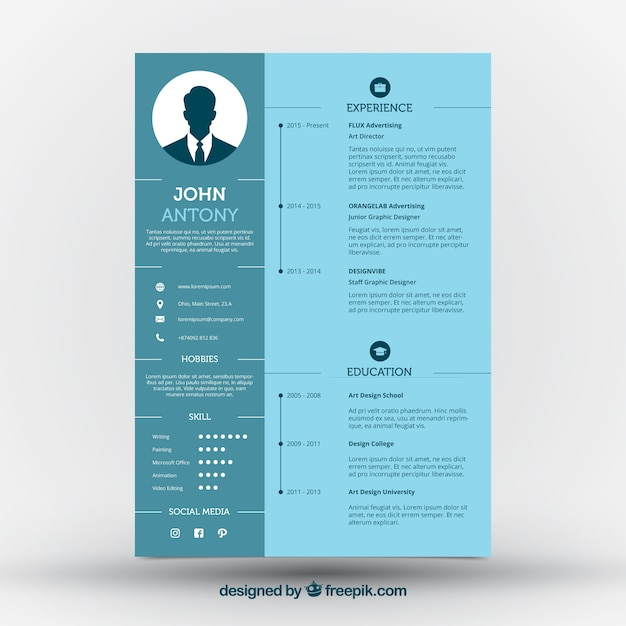 blue cv template vector free download