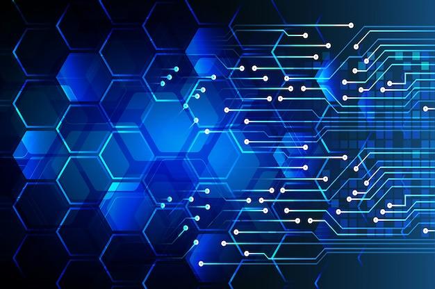 Blue cyber circuit future technology background Premium Vector