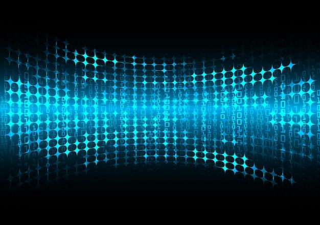 Blue cyber circuit future technology concept background, led Premium Vector