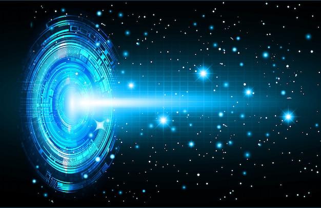 Blue cyber circuit future technology concept background Premium Vector