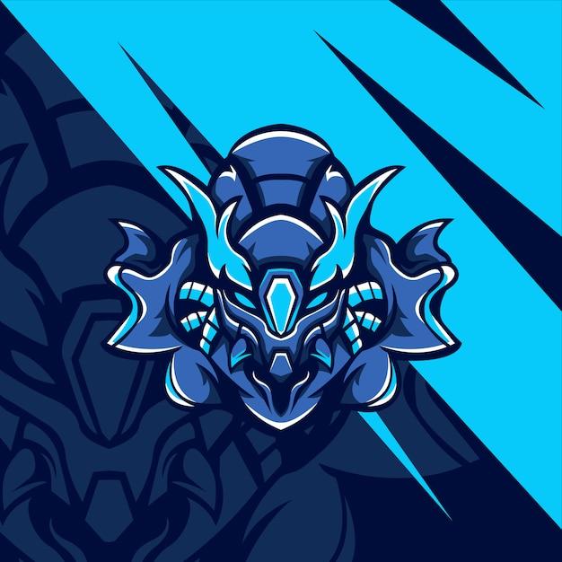 青いサイボーグモンスター Premiumベクター