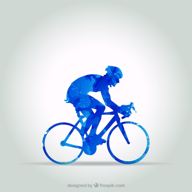 Blue cyclist in abstract style Free Vector