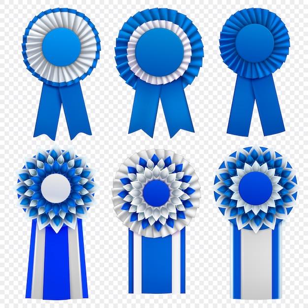 Синяя декоративная медаль наград циркулярные розетки значки отворотом булавки с лентами реалистичный набор прозрачный Бесплатные векторы