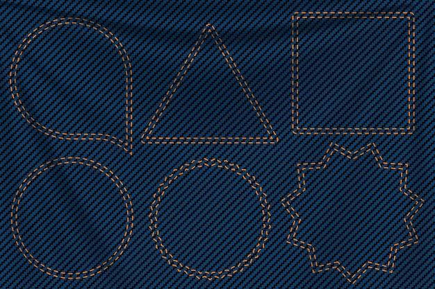 Blue denim background labels Premium Vector