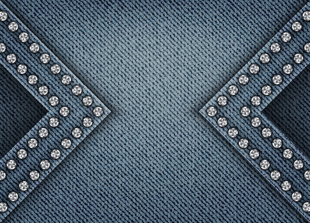 Blue denim background with arches and sequin borders Premium Vector