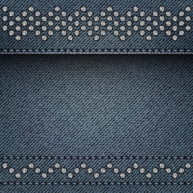 Blue denim background with stitches and silver spangle lines. Premium Vector