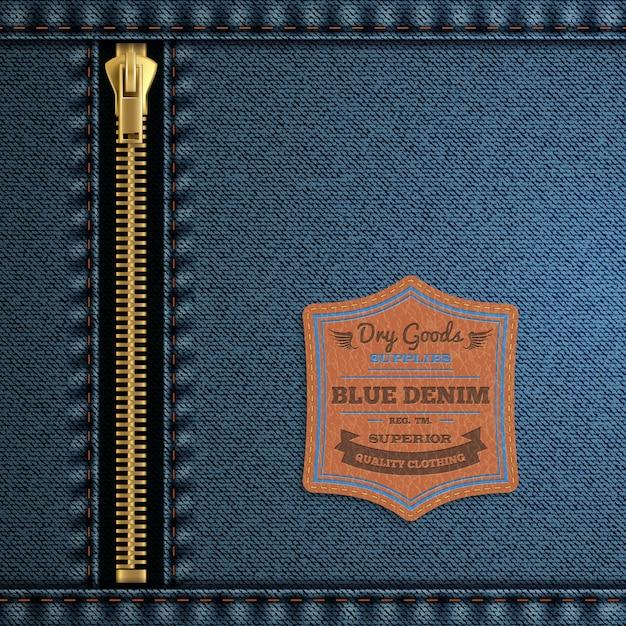 ジッパーとラベルの背景を持つ青いデニム布 無料ベクター