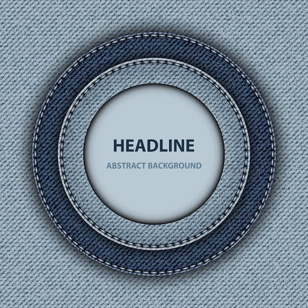 Blue denim  with round stitched frames. Premium Vector