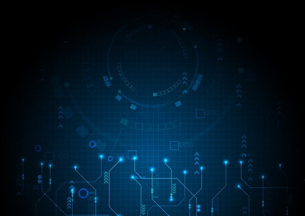 Blue digital data technology circuit background Premium Vector