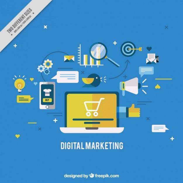 Premium Vector | Blue digital marketing background in flat ...