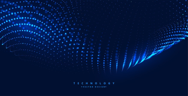 Blue digital technology background with glowing particles Free Vector