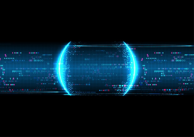 Blue digital technology background Premium Vector