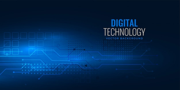 Blue digital technology concept with circuit wire mesh diagram Free Vector