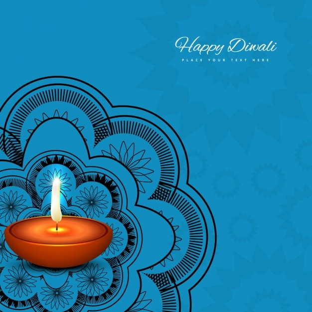 Blue Diwali Background Vector Free Download