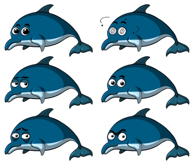 Blue dolphins with different emotions Premium Vector