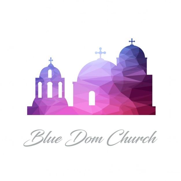 Blue dome church, polygonal Free Vector