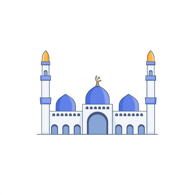 Blue dome mosque vector icon illustration Premium Vector
