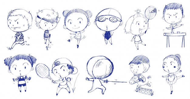 Blue doodle design of people playing with the different sports Free Vector