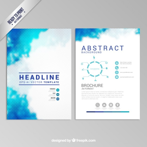 Blue dotted brochure Free Vector
