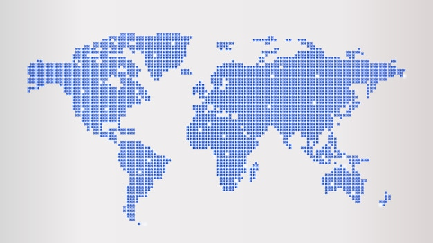 Blue dotted world map Premium Vector