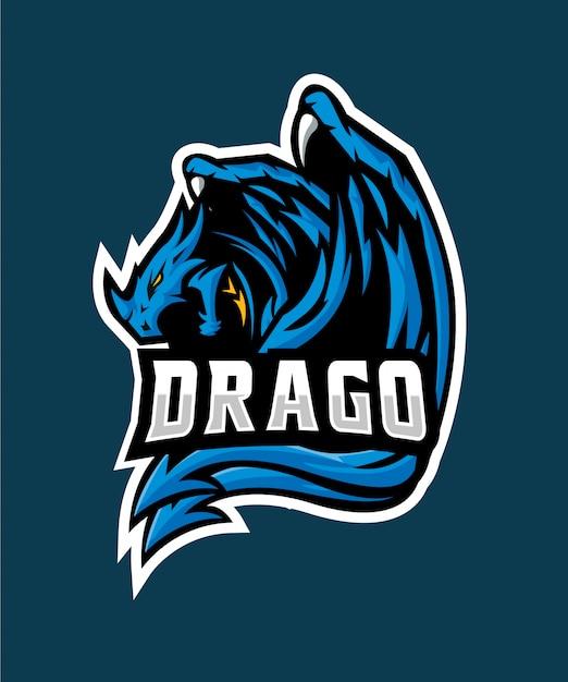 Blue drago e sports logo Premium Vector