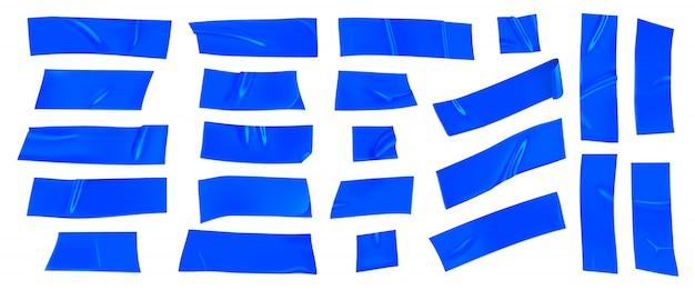 블루 덕트 테이프 세트. 고립 된 고정을위한 현실적인 파란색 접착 테이프 조각입니다. 종이가 붙어 있습니다. 프리미엄 벡터