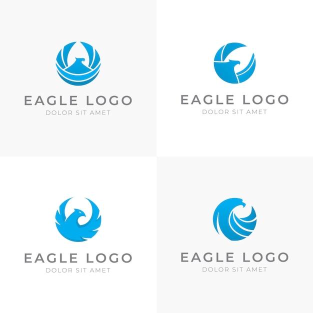 Набор blue eagle дизайн логотипа в круглой форме Premium векторы
