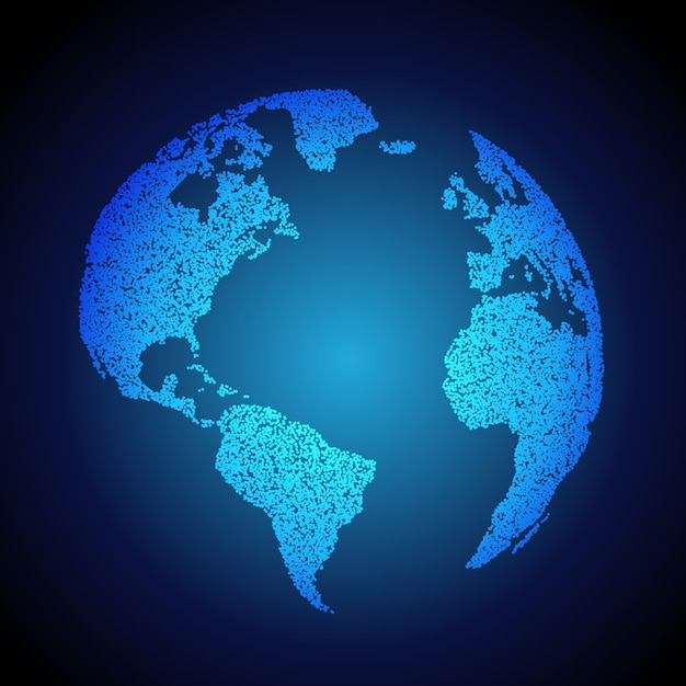 blue earth background made with dots Free Vector