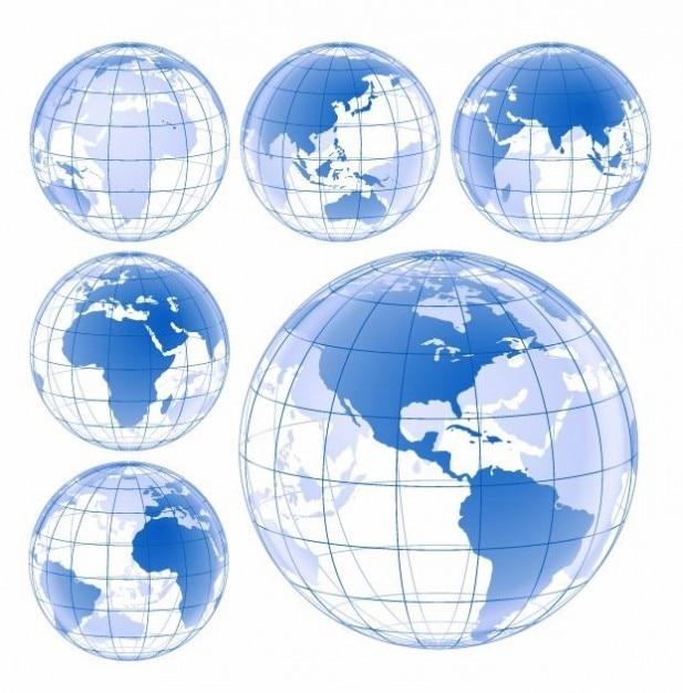 blue earth globe vector set Free Vector